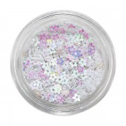 Glitter voor nagels white holo flowers