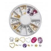 Ronde box met nageldecoraties - studs & jewels